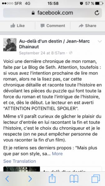 Page Facebook de Jean-Marc Dhainaut